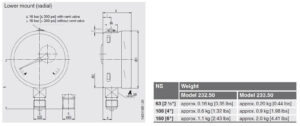 ابعاد فشارسنج (مانومتر) ویکا WIKA مدل 232.50 , 233.50 - پیشرو صنعت آزما