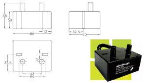 ابعاد ترانس جرقه شکوه Shokouh مدل COF2 - پیشرو صنعت آزما