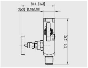 ابعاد شیر تخلیه (شیر بلوکی) ویکا WIKA مدل IV20 ، IV21 - پیشرو صنعت آزما