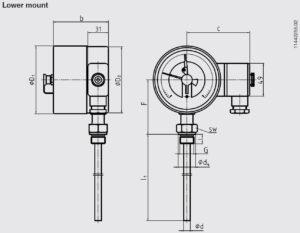 ابعاد 2 ترموستات بی متال ویکا WIKA مدل TGS55 - پیشرو صنعت آزما