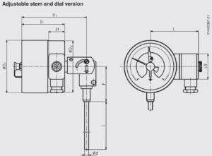 ابعاد 6 ترموستات بی متال ویکا WIKA مدل TGS55 - پیشرو صنعت آزما